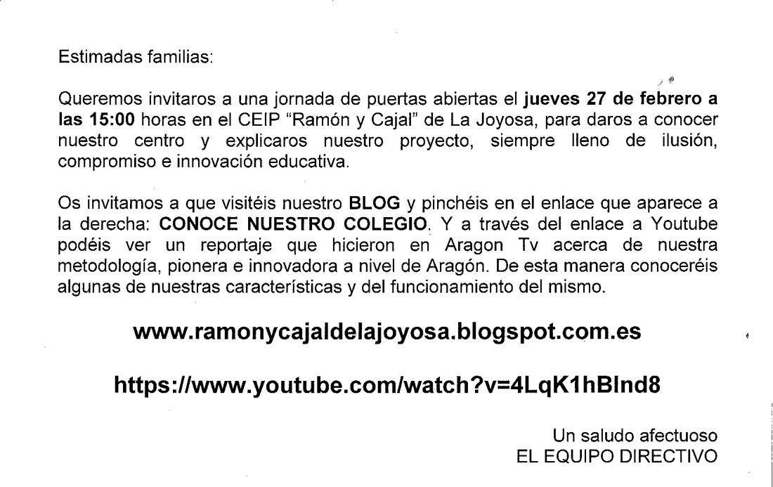 """Jornada de puertas abiertas CEIP """"Ramón y Cajal"""""""